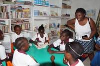 Students sampling reading room